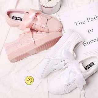 現貨蝴蝶結綁帶緞面鞋帶平底鞋小白鞋