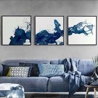 Splashing Blue Ink Painting