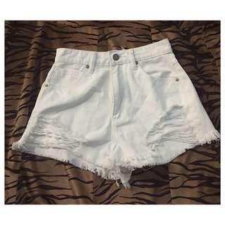 Abrand White Denim Shorts