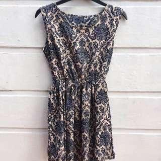 Blue Patterned Print Dress