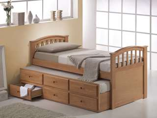 Joseph Natural Wood Single Trundle Bed Factory Price