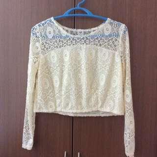 [NEW] Lace Elegant Long Sleeve Crop Top