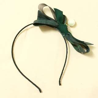 韓國綠色蝴蝶結髮箍