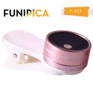 售)FUNIPICA F-515 0.36x超廣角鏡頭+15x微距 二合一通用型 夾式鏡頭 自拍神器 手機鏡頭