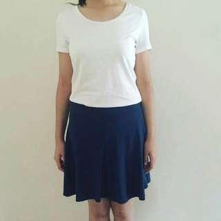 Plain Blue Skater Skirt