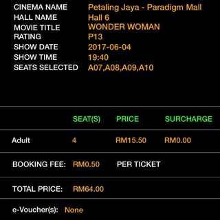 Wonder Woman Movie Ticket
