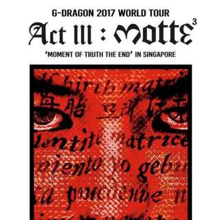 G Dragon Tour Tickets