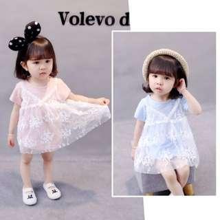 女童夏季棉質兩件式洋裝 蕾絲連身裙 花童洋裝公主洋裝 生日洋裝 表演洋裝