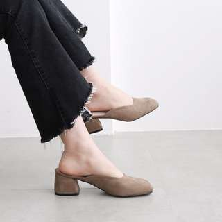 超美實拍韓國訂單方頭粗跟鞋
