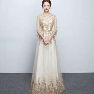[FOR RENT] Champagne Gold Dinner/Wedding/Evening Sequins Dress with Lavish Rhinestones Lace