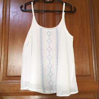 White Aztec Embroidery Top