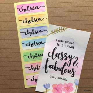 Customised Name Watercolour Stickers