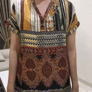 Celina Tania Boho Sateen Silk Blouse