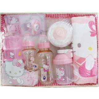 Kitty 凱蒂貓 奶粉盒 奶瓶 浴巾禮盒