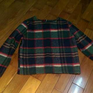 短版毛料格紋長袖