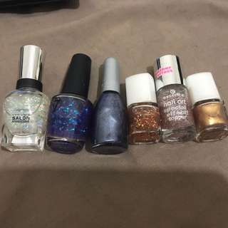 Set Of 6 Glitter/Metallic Nail Polish