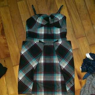 JOJO格紋毛料造型口袋洋