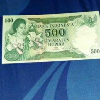 uang kertas kuno 500rupiah seri merangkai bunga..kondisi vf