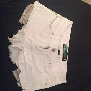 White Low Rise Jean Shorts