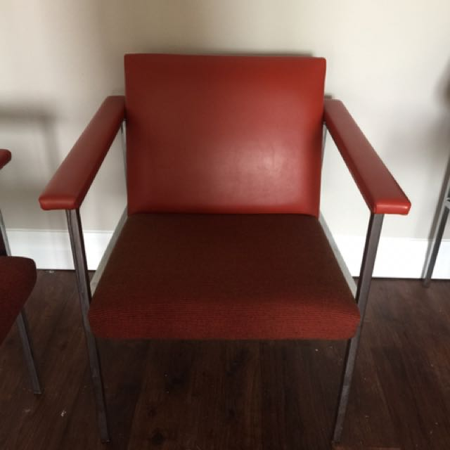 3 Premium Red Leather Chairs