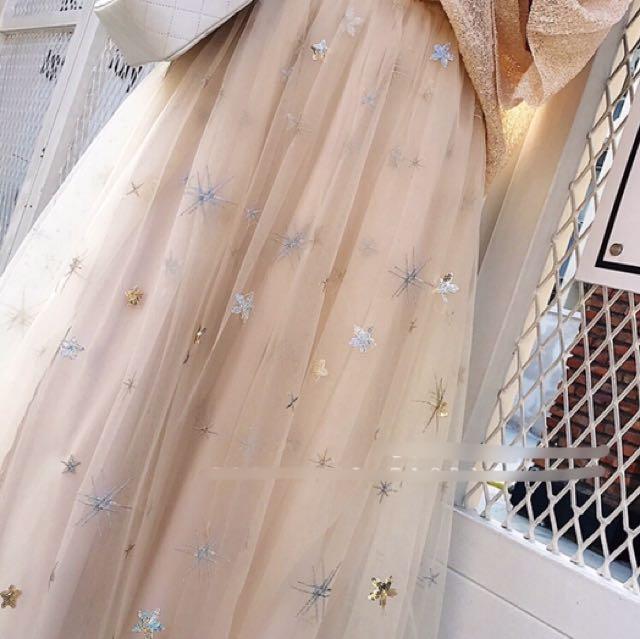 《預購》海星刺繡浪漫紗裙 長裙
