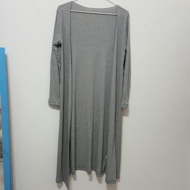 全新 灰色 外套 罩衫 長版