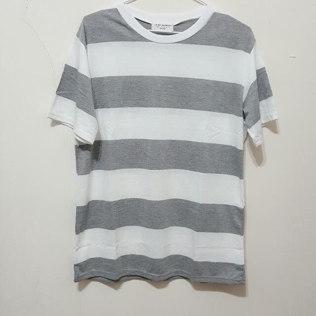 全新 灰色 條紋 T恤