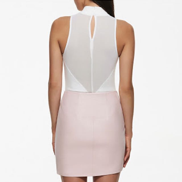 🎀 Forever New Kendall And Kylie Mesh Bodysuit In Porcelain Size 8
