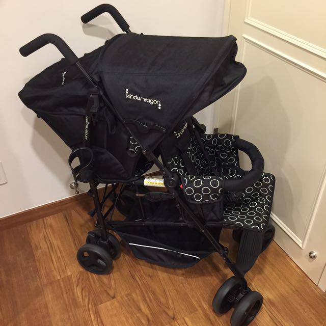 美國 Kinderwagon Hop #114 雙人嬰兒推車 - 黑