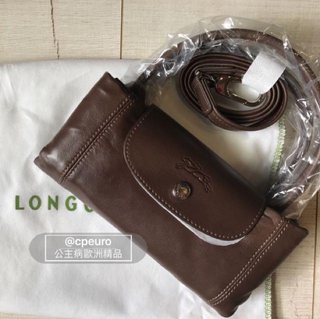現貨{公主病精品} 法國Longchamp 小羊皮 S號 咖啡色 大地色 Le Pliage Cuir 全新正品 有專櫃購買證明