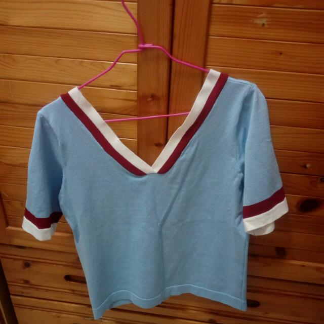 淺藍天空藍 V領針織領衫