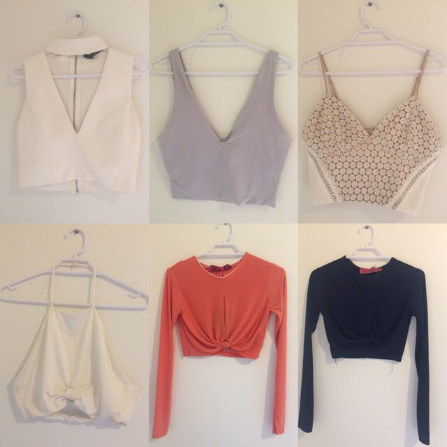 ALL CROP TOPS Size XS, bottom left Size M