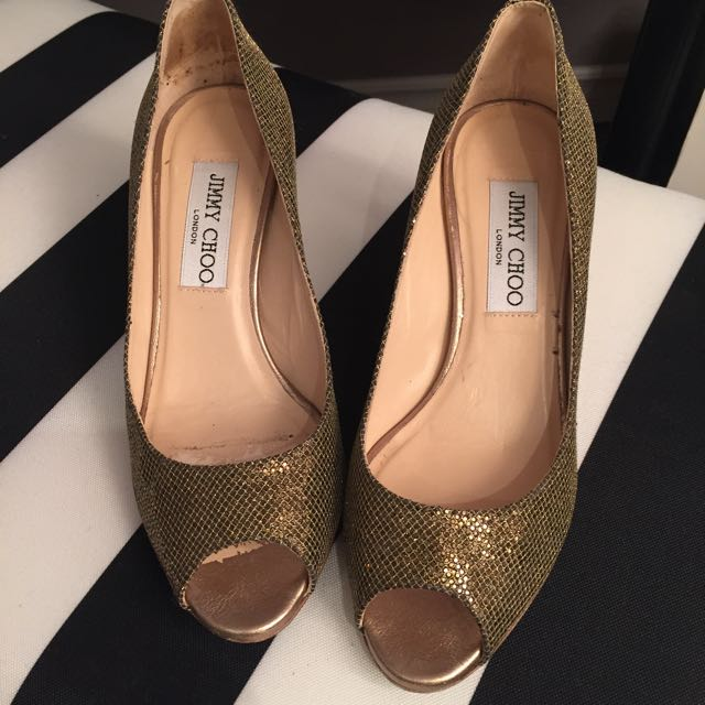 Authentic Jimmy Choo Gold Kitten Heels