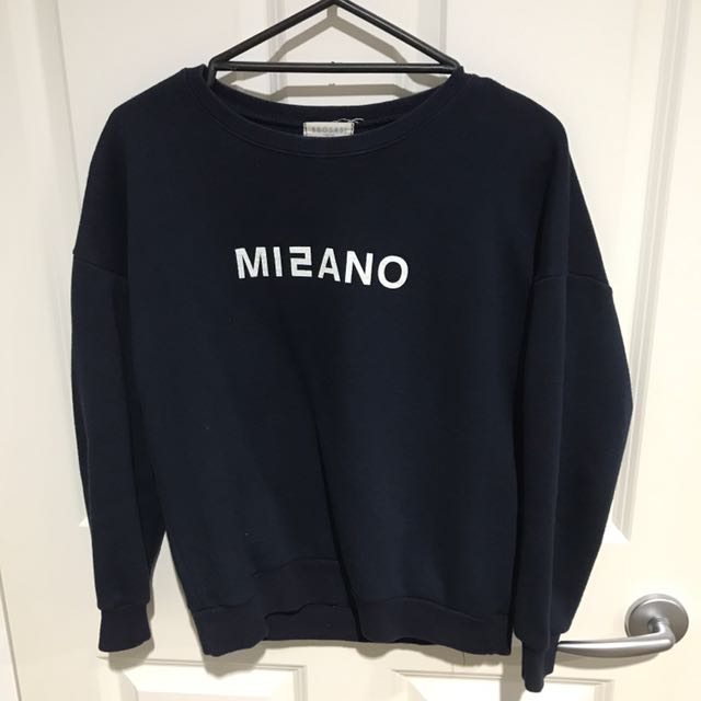 BBOSASI KOREAN LETTERING NAVY JUMPER