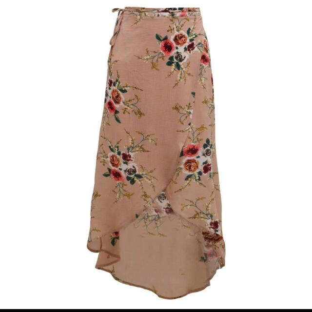 Beige Summer Floral Wrap Skirt