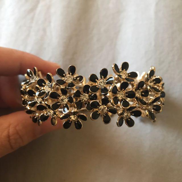 Black And Gold Floral Bracelet