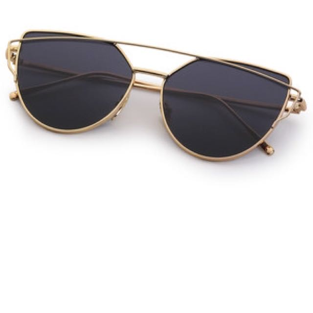 Black And Gold Metal Sunglasses