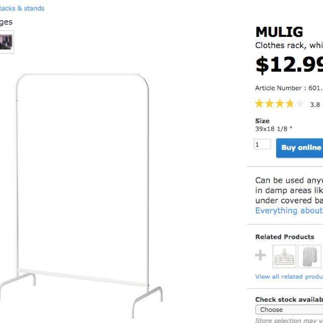 Black IKEA Clothing metal rack
