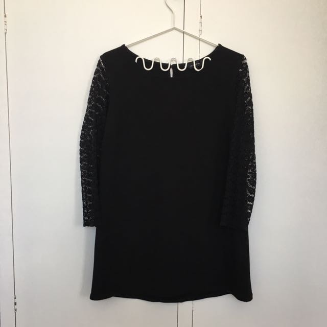 Black Mini with Crochet Sleeves