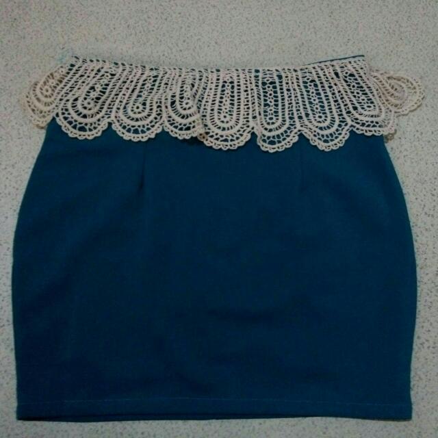 Blue Crochet Pencil Skirt