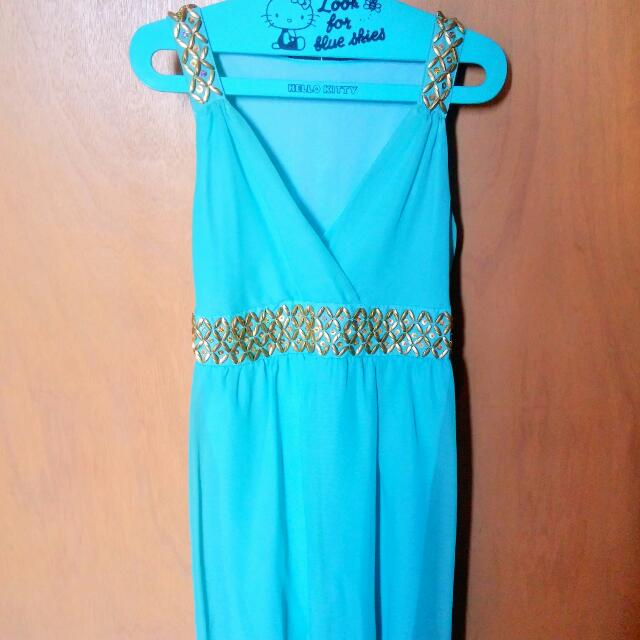 Blue Green Chiffon Dress