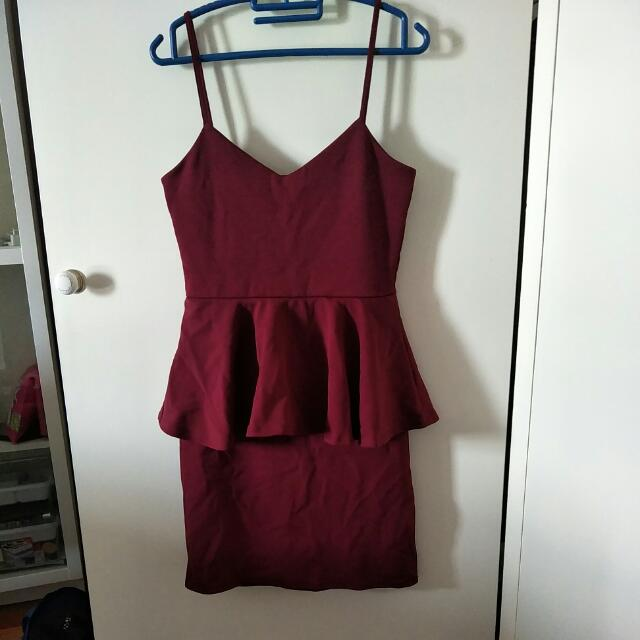 Boohoo Peplum Burgundy Dress