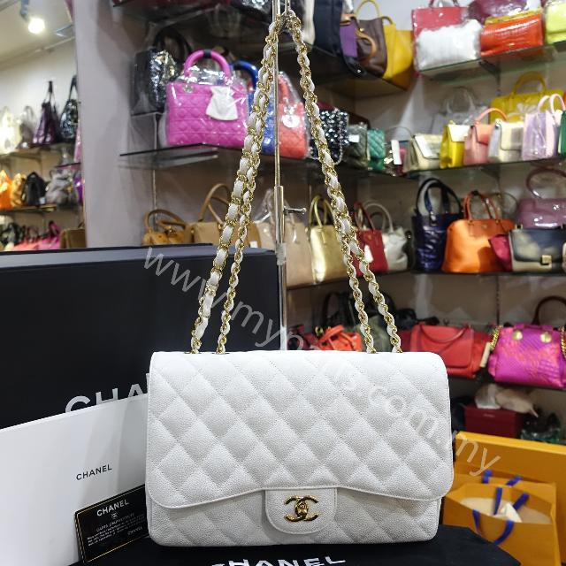 c138dc447258 Chanel White Caviar Jumbo Single Flap Bag, Luxury, Bags & Wallets on  Carousell