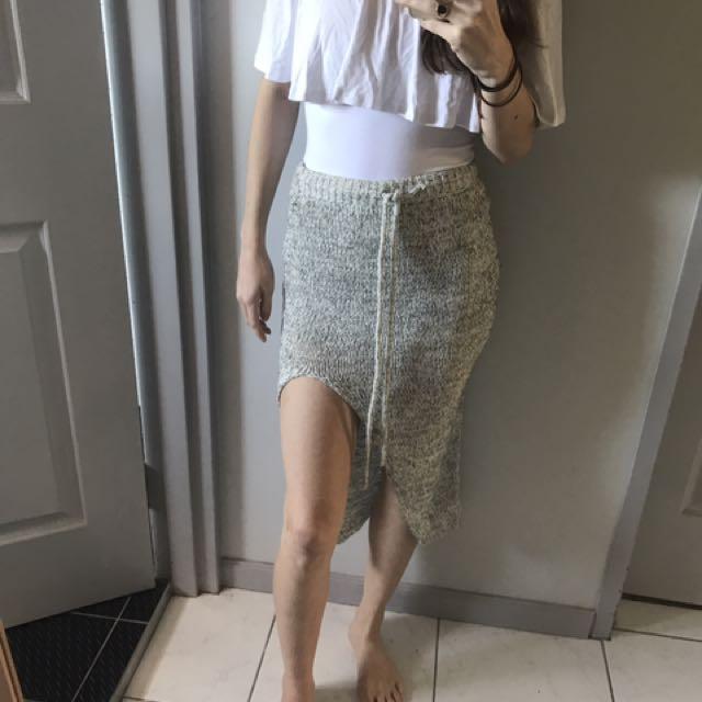 Crochet Knitted Midi Skirt With Split