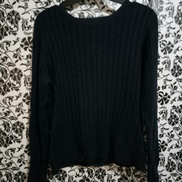 Dark Blue Knit Pullover Sweater
