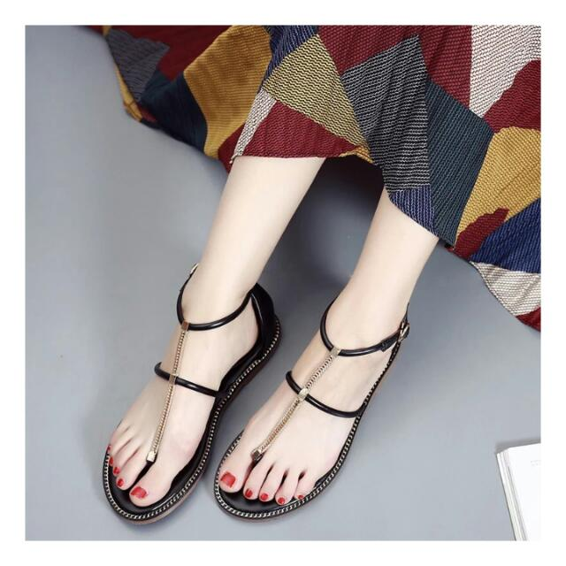 Dazzling 歐美金鍊涼鞋