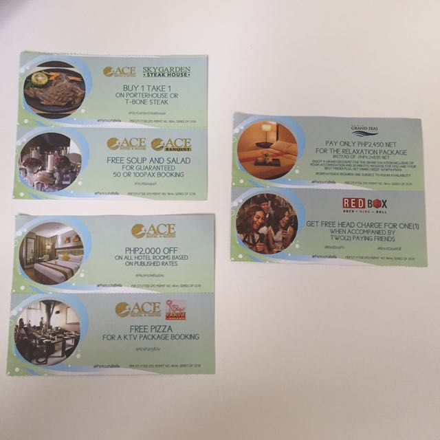 Discount and Freebie COUPONS (Ace, Subic Grand Seas, & Red Box)