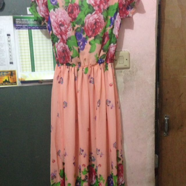 Dress Motif Bunga (peach)