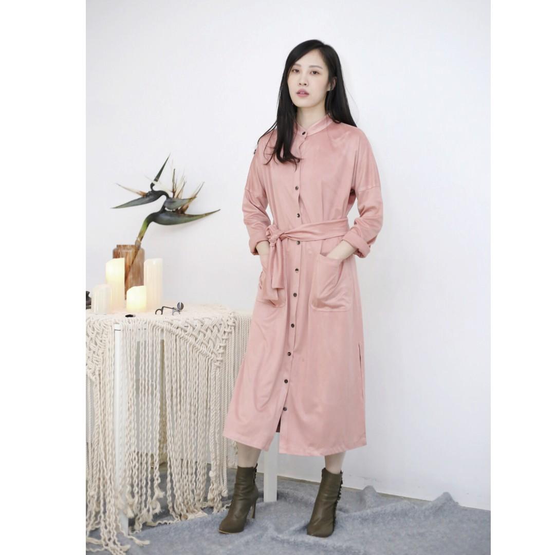 DressCode DC粉色麂皮襯衫洋裝