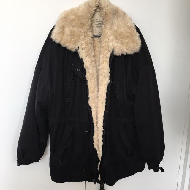 Fluffy Lined Black Anorak Jacket